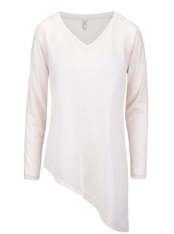 Krémové asymetrické tričko s dlhým rukávom ONLY Hanna