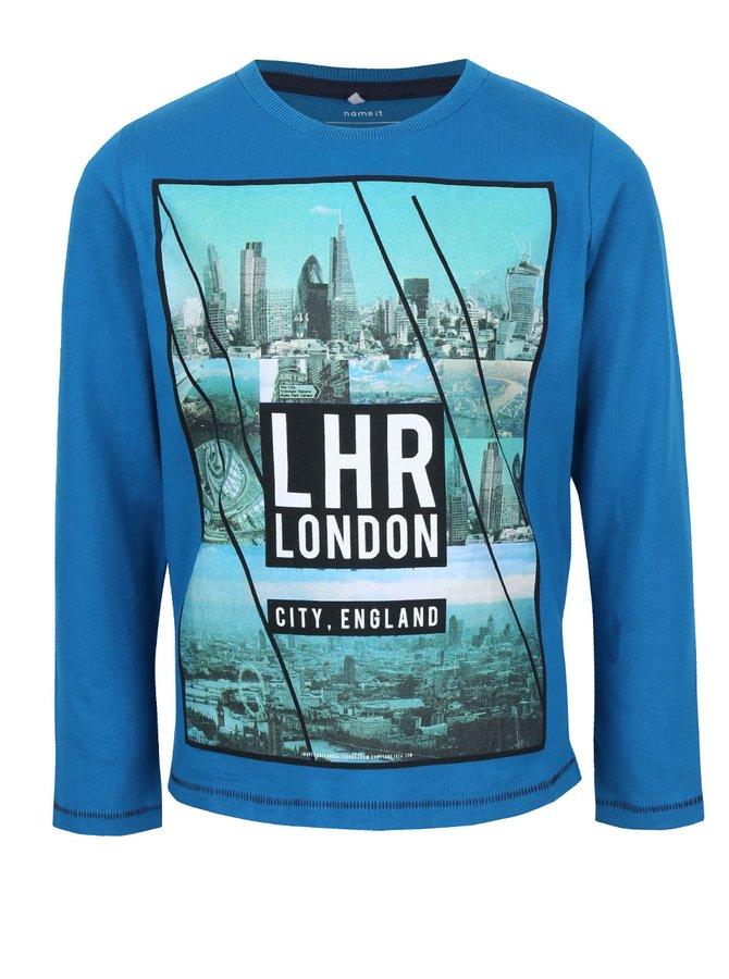 Bluză albastră de băieți Name It Uno cu print