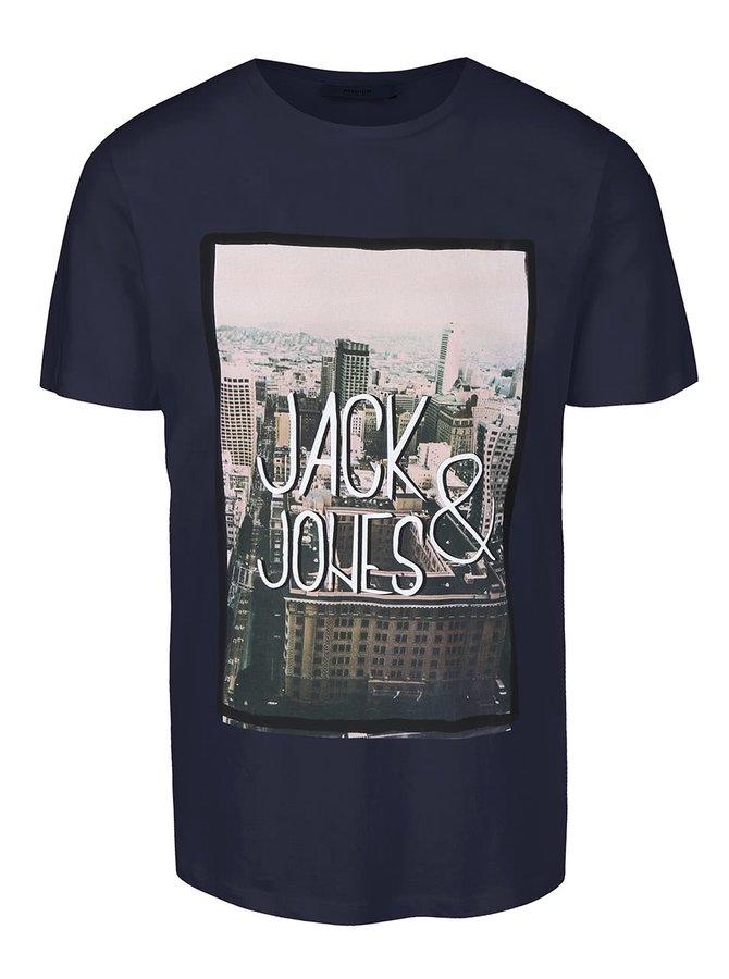 Tmavomodré tričko s potlačou Jack & Jones Roli