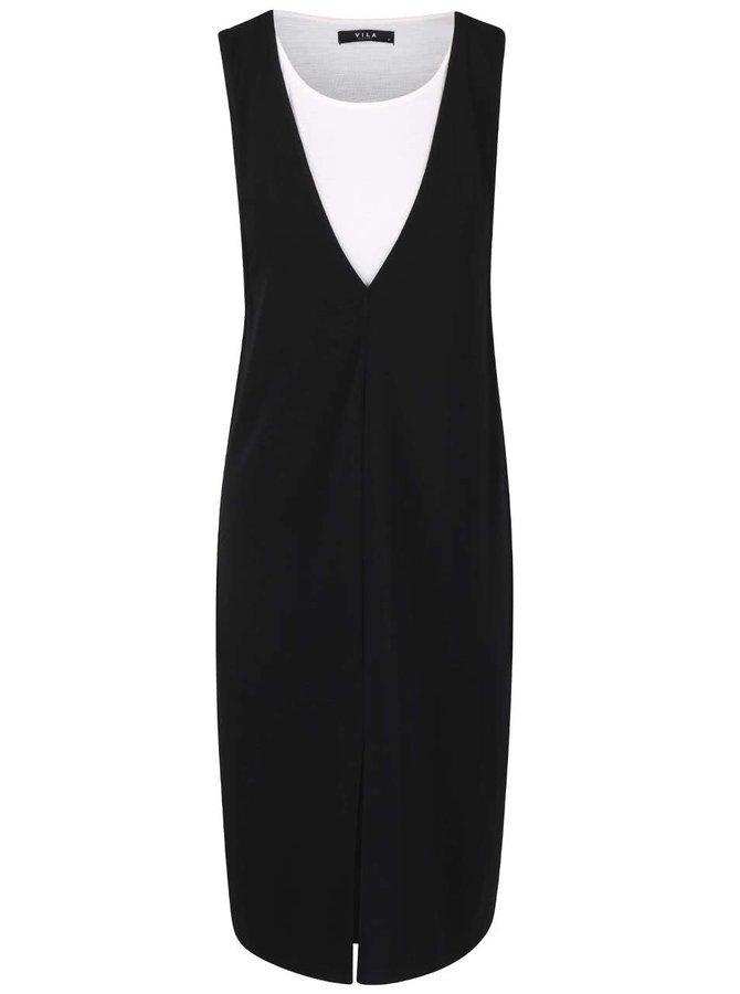 Černé šaty s krémovou spodničkou VILA Brave