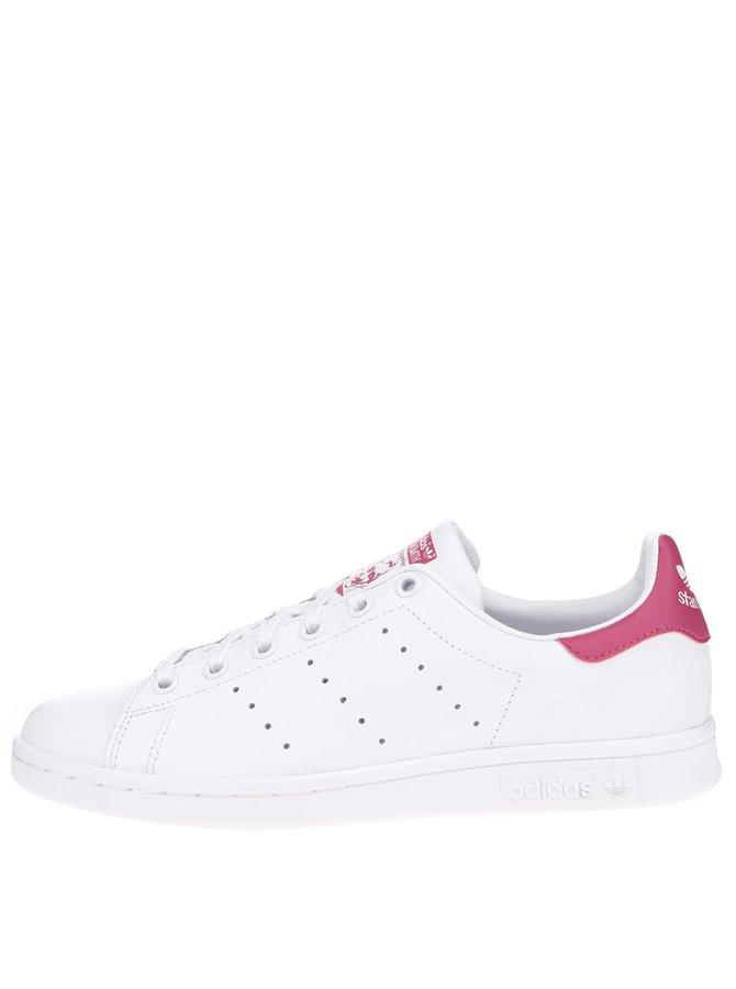 Bílé dámské kožené tenisky s růžovými detaily adidas Originals Stan Smith