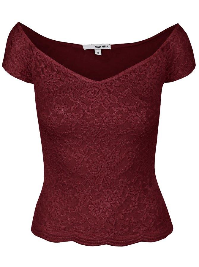 Vínové čipkované tričko s lodičkovým výstrihom TALLY WEiJL Pippa