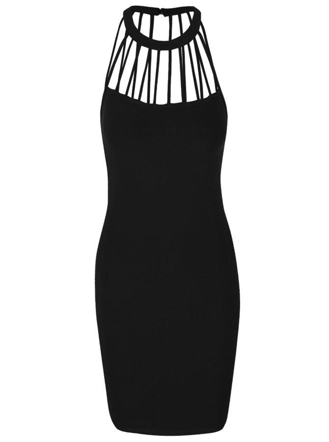Černé šaty s detaily u krku TALLY WEiJL