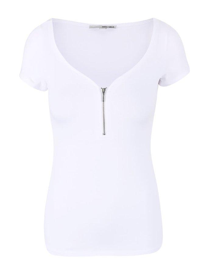 Bílé tričko se zipem ve výstřihu TALLY WEiJL Razy