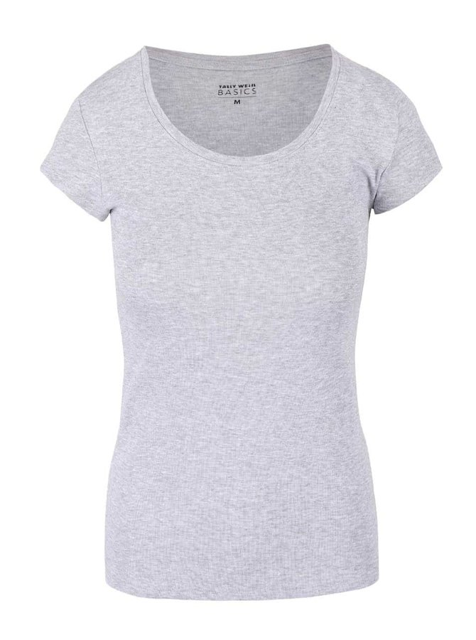 Sivé melírované tričko s okrúhlym výstrihom TALLY WEiJL Adalo