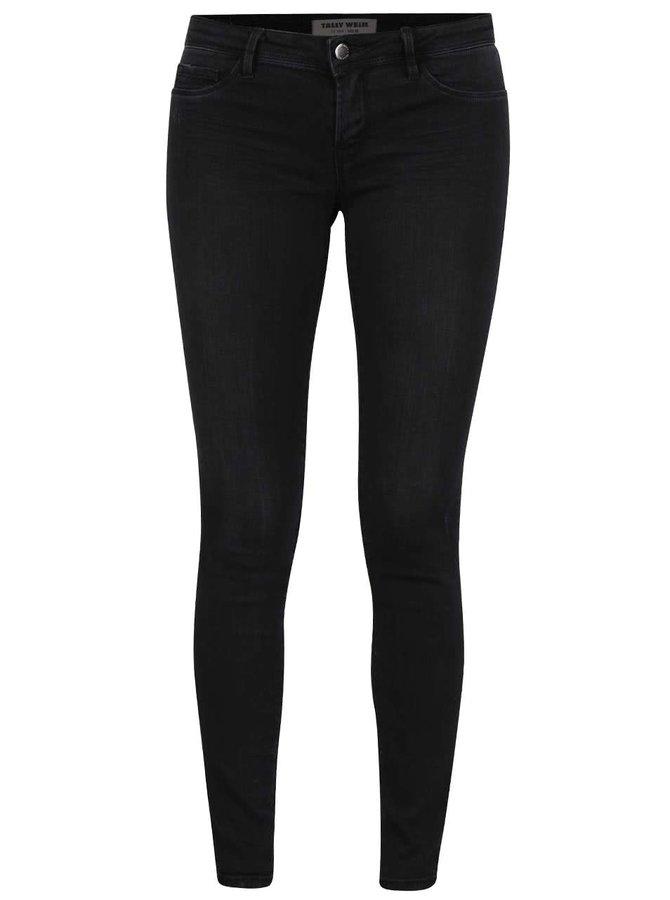 Černé skinny džíny s vyšisovaným efektem TALLY WEiJL