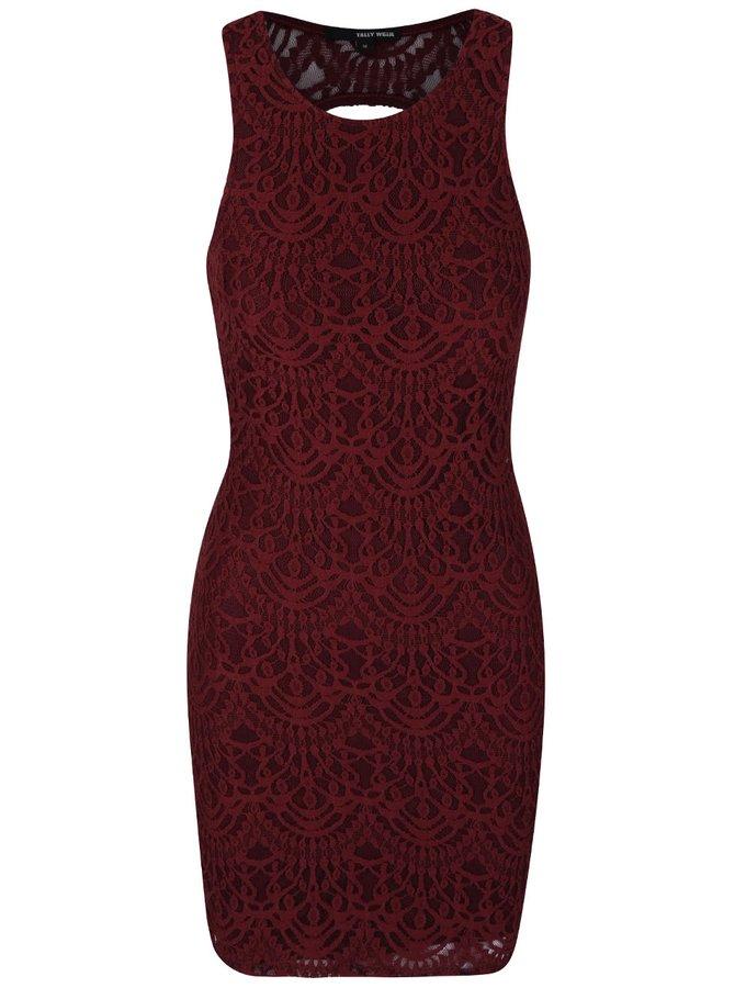 Vínové čipkované šaty Tally Weijl