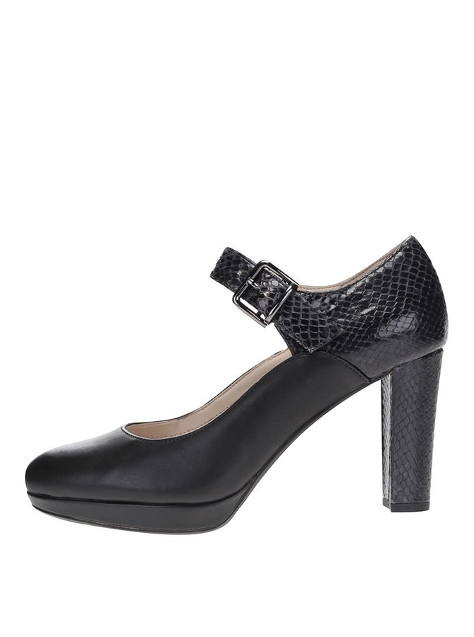 Černé kožené boty na podpatku Clarks Kendra Gaby