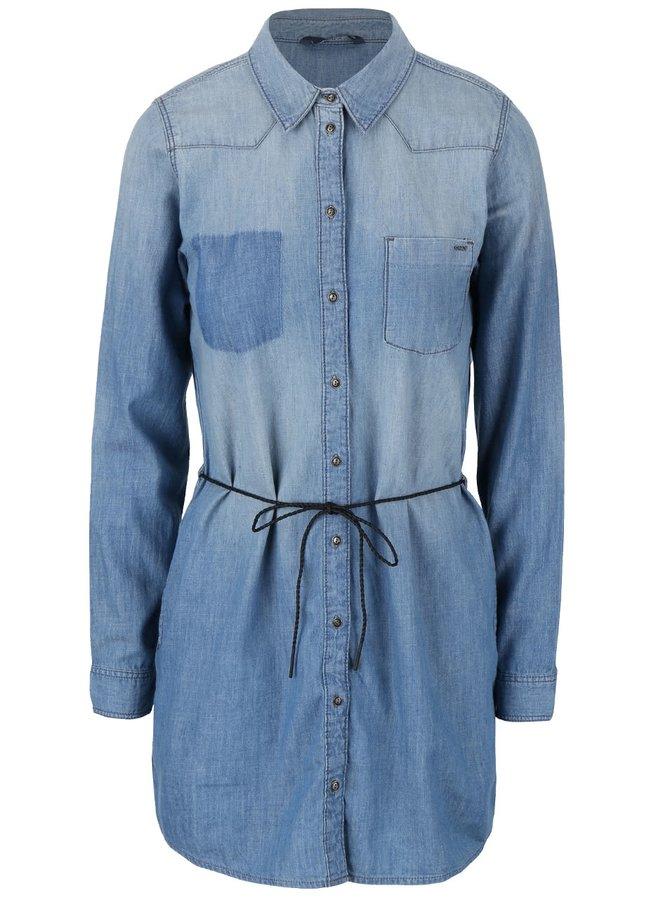 Modré džínové šaty s páskem ONLY Henna