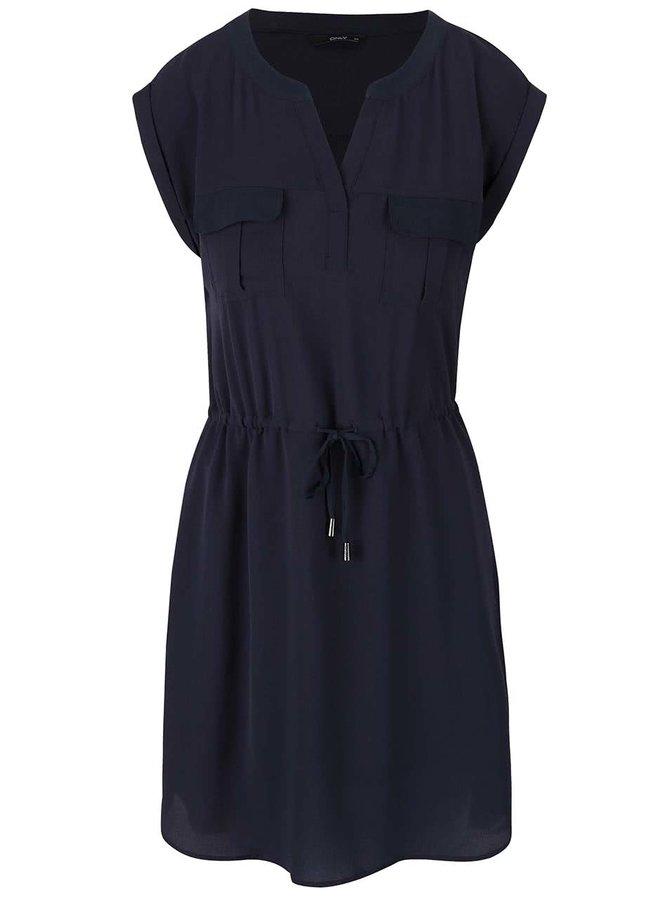 Tmavomodré šaty so stiahnutím v páse ONLY Vertigo