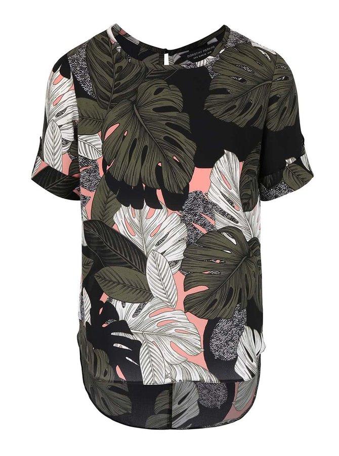 Khaki-černá halenka s tropickým vzorem Dorothy Perkins