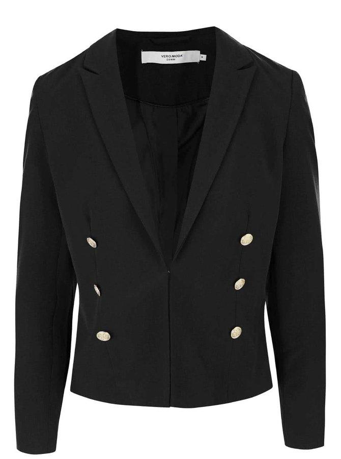 Černé sako s knoflíky ve zlaté barvě VERO MODA Dana