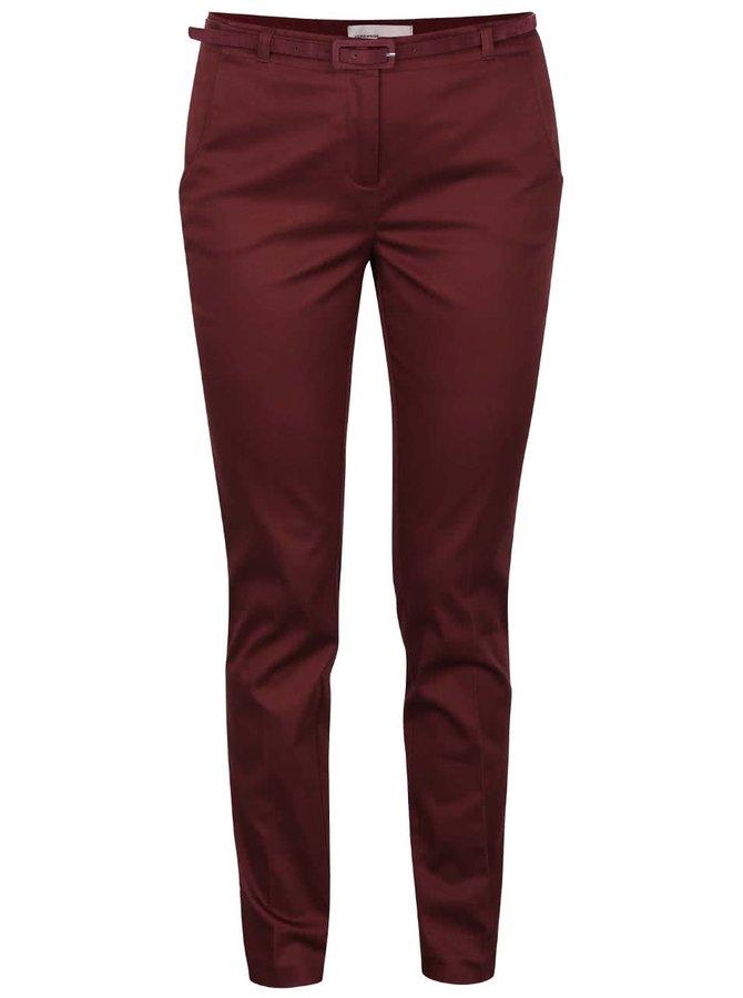 Vínové slim fit nohavice s opaskom Vero Moda Roos