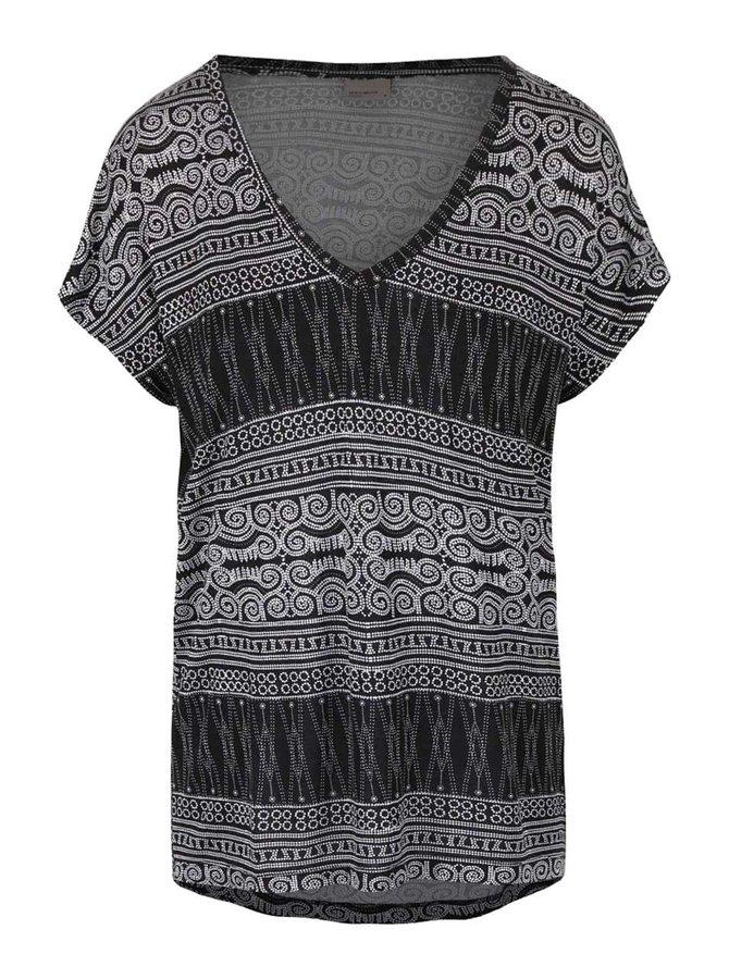 Tricou alb-negru cu imprimeu VERO MODA Nala