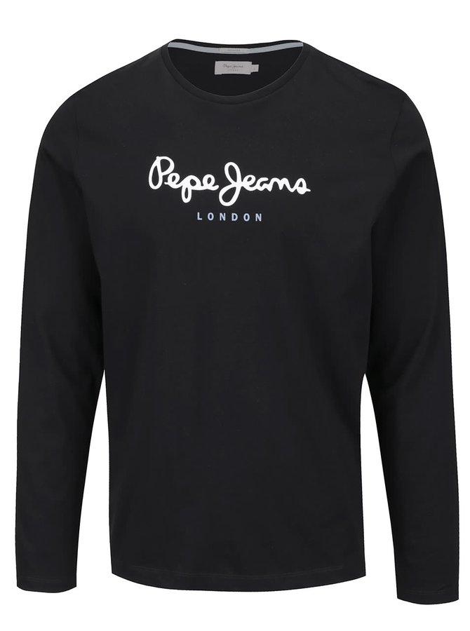 Bluză neagră Pepe Jeans Eggo long din bumbac