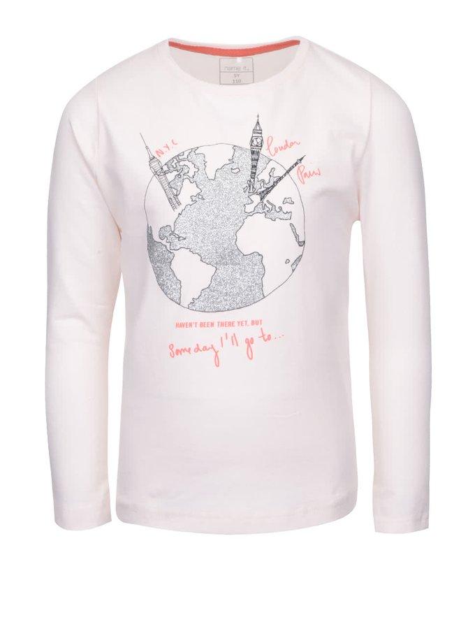 Bluză roz pal pentru fete name it Kavi cu imprimeu