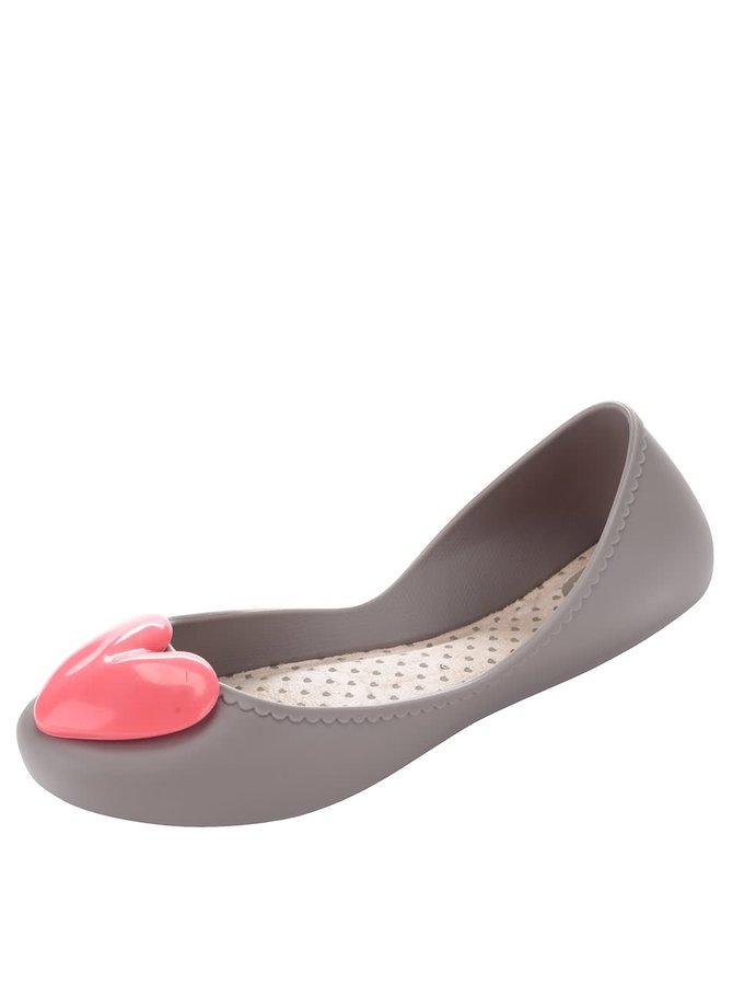 Sivé plastové balerínky s ružovým srdcom Zaxy Start Romance
