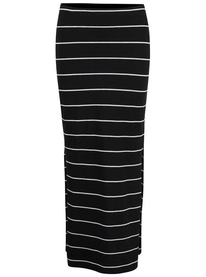 Čierna dlhá pruhovaná sukňa s rozparkami Only Abbie