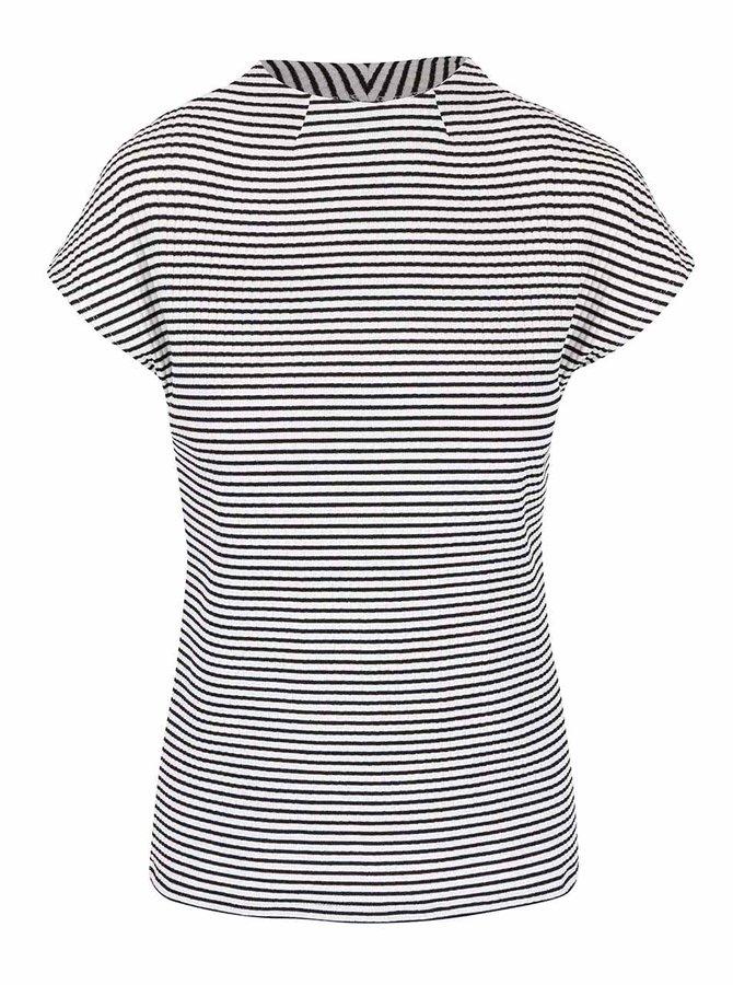 Černo-krémové pruhované tričko se stojáčkem ONLY Figoro