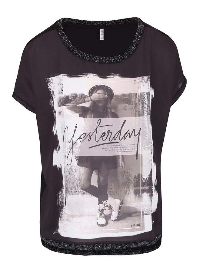 Černé oversized tričko s potiskem ONLY Vickela