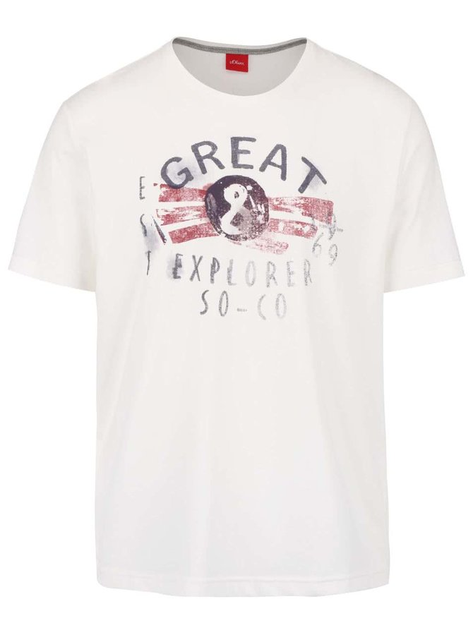 Krémové pánské triko s potiskem s.Oliver