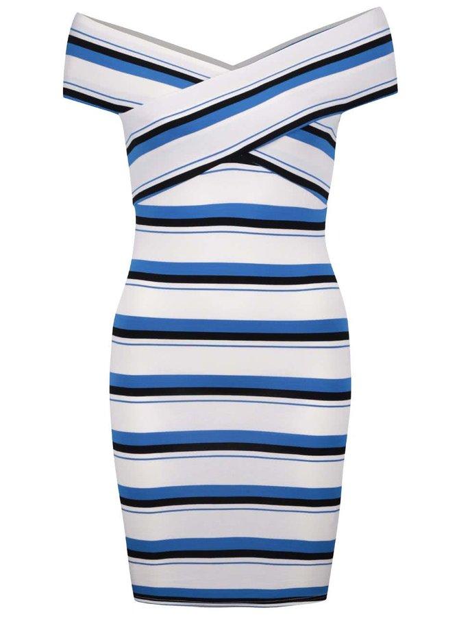 Krémové šaty s modro-černými pruhy Miss Selfridge Petites