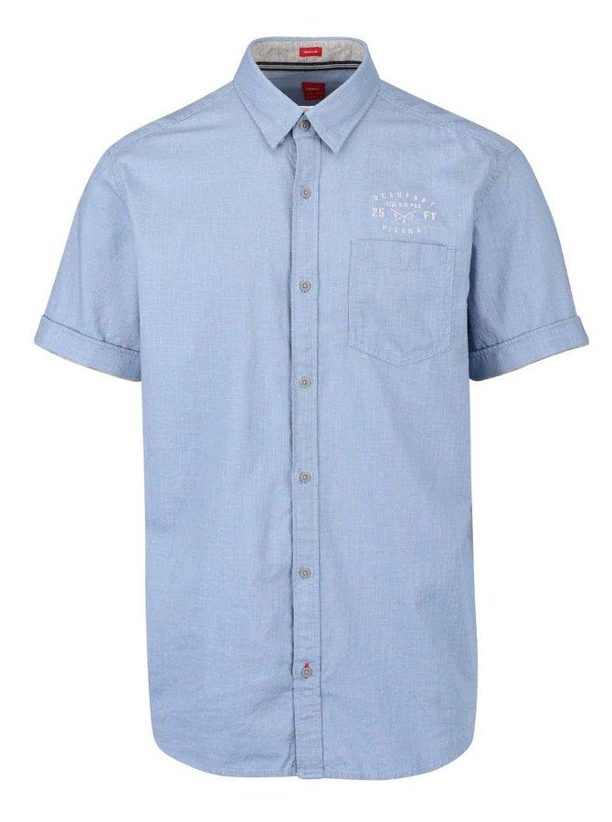 Modrá neformální pánská košile s kapsou s.Oliver