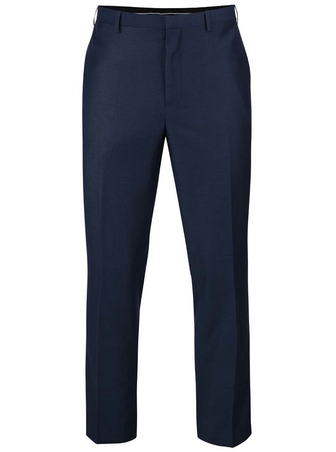 Modré oblekové slim fit formálne nohavice s pukmi Burton Menswear London