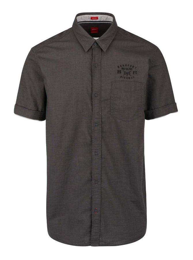 Tmavě šedá pánská košile s kapsou s.Oliver