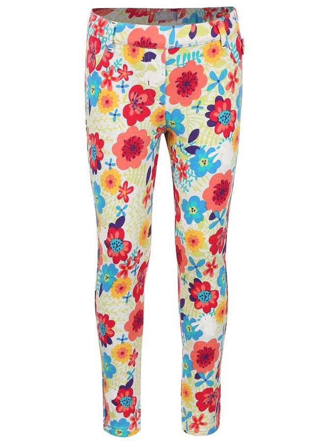Pantaloni crem cu model floral Boboli pentru fete