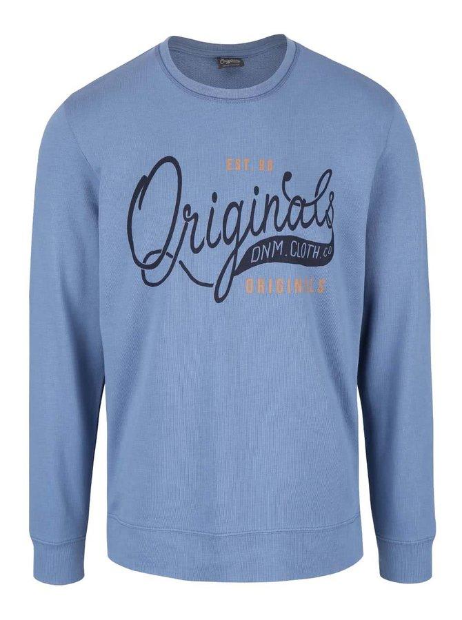Bluză albastră din bumbacJack & Jones Type cu logo print