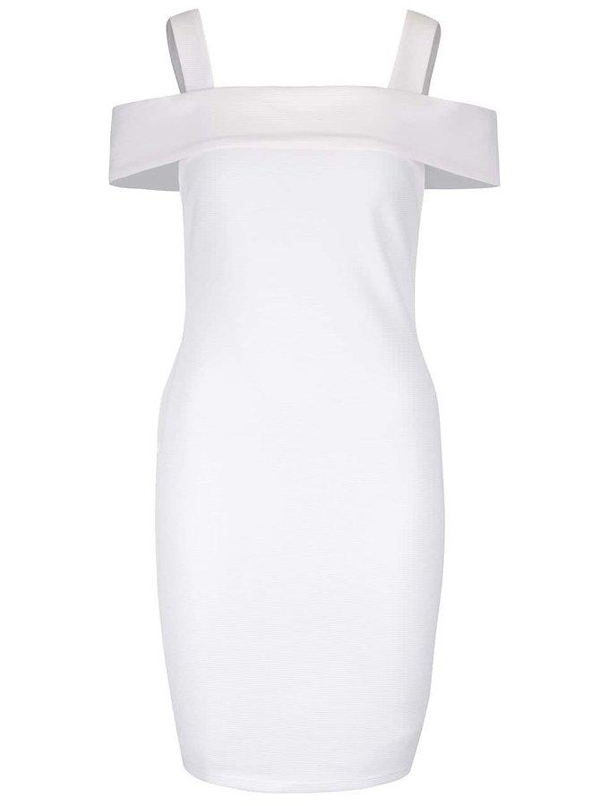 Krémové šaty s priestrihmi na ramenách Miss Selfridge