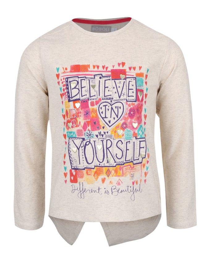 Krémové dievčenské tričko s rozparkom na zadnej strane Bóboli