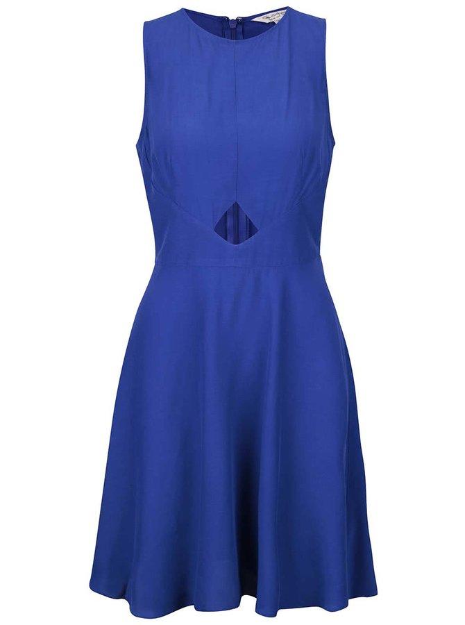Modré šaty s prestrihom v páse Miss Selfridge