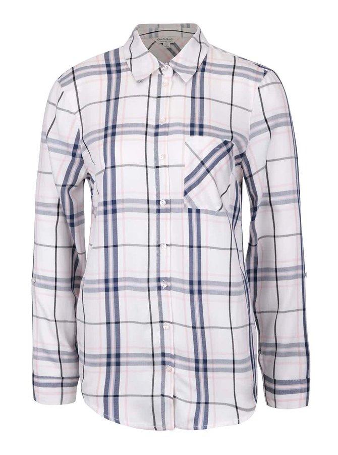 Modro-krémová kostkovaná košile Miss Selfridge
