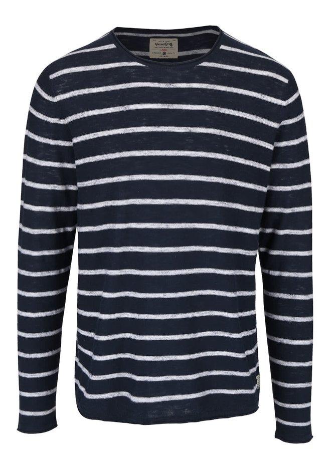 Bluză bleumarin cu dungi crem din bumbac Jack & Jones Derrick