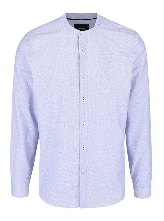 Svetlomodrá vzorovaná košeľa bez goliera Burton Menswear London