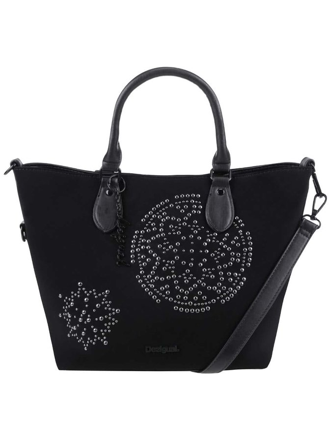 Černá matná kabelka s detaily ve stříbrné barvě Desigual Florida