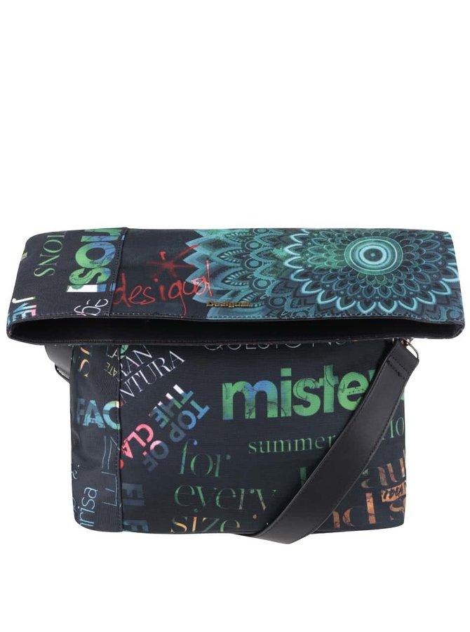 Černá vzorovaná crossbody kabelka s barevnými nápisy Desigual Ibiza Heritage