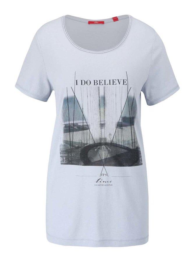 Šedomodré dámské tričko s potiskem s.Oliver