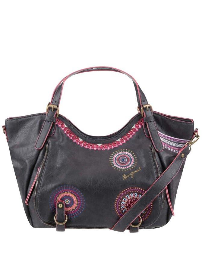 Čierna kabelka s ružovými vzormi Desigual Rotterdam Greta