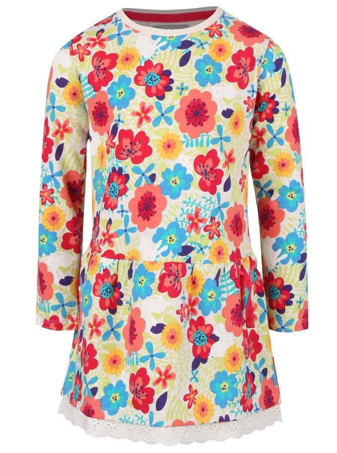Krémové holčičí šaty s květinovým vzorem a volánkem Bóboli