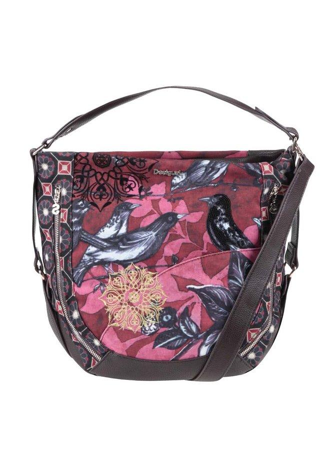 Červená kabelka s motivem ptáčků Desigual Marteta Bird Land