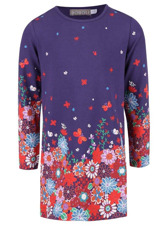 Fialové dievčenské šaty s kvetinovým vzorom a motýľmi Bóboli