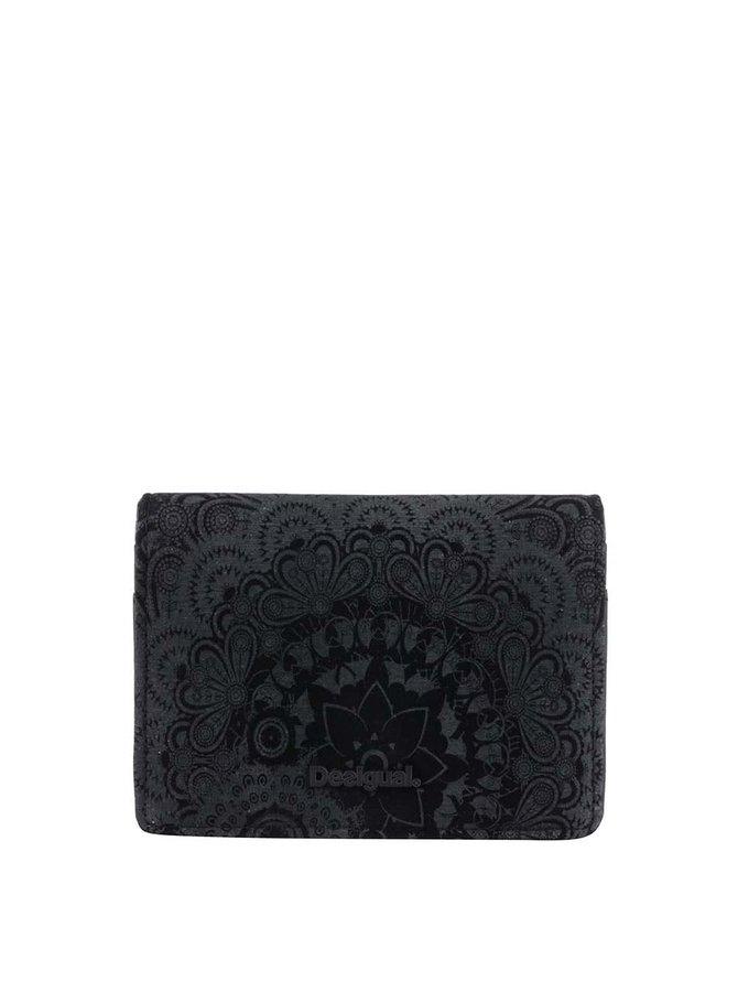 Portofel negru Desigual Simple Velvet cu model