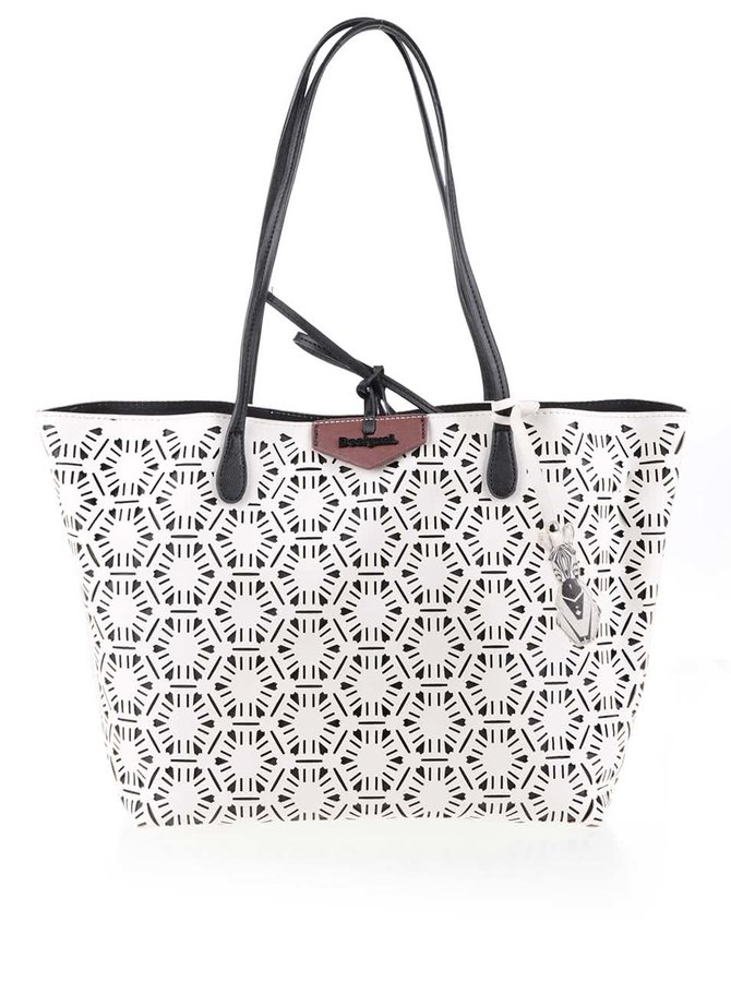Čierno-biely vzorovaný shopper Desigual Capri Olga
