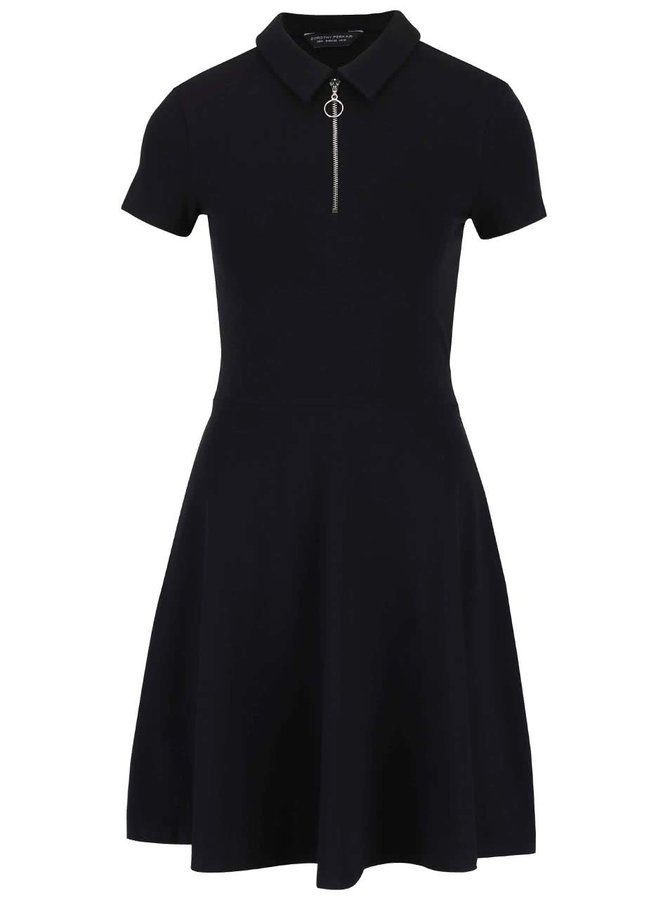 Černé šaty s límečkem a zipem ve výstřihu Dorothy Perkins