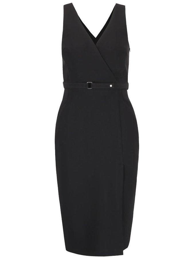 Čierne puzdrové šaty s rozparkom a opaskom Dorothy Perkins