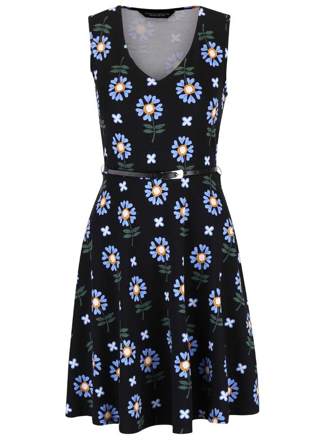 Čierne kvetované šaty s opaskom Dorothy Perkins