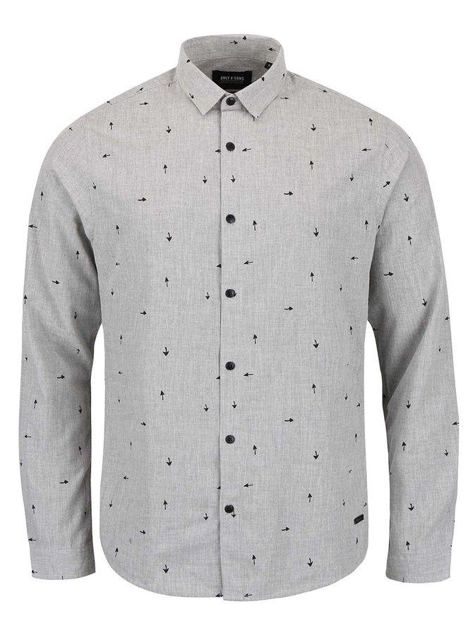 Světle šedá vzorovaná košile ONLY & SONS Sivel